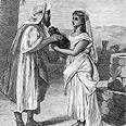 אליעזר עבד אברהם פוגש ברבקה על יד באר מים.