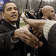 ברק אובמה עם תומכים בוושינגטון
