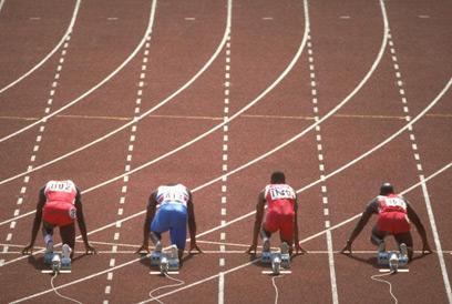הגמר הגדול בסיאול 1988. בן ג'ונסון, קלווין סמית, לינפורד כריסטי וקרל לואיס  (צילום: אימג'בנק / GettyImages) (צילום: אימג'בנק / GettyImages)