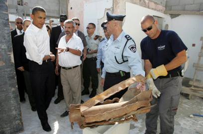רקטות בביקור הקודם. אובמה בישראל ביולי 2008 (צילום: AFP) (צילום: AFP)