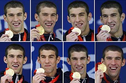 כך נראה אלוף אולימפי שמונה פעמים באותה אולימפיאדה בבייג'ינג (צילום: AP)