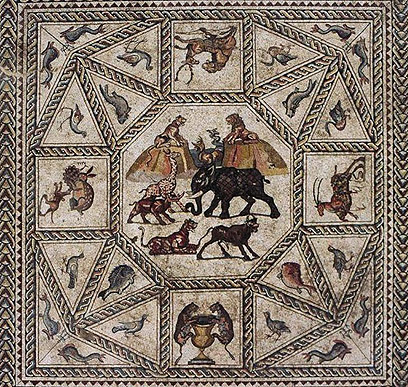 Roman period mosaic in Lod (photo courtesy of Lod Municipality)