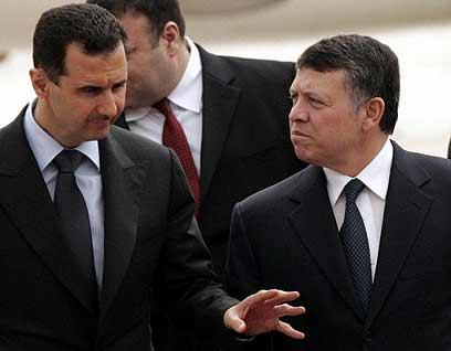 לא הפעם הראשונה שטייס סורי עורק לירדן. אסד והמלך עבדאללה (צילום: רויטרס) (צילום: רויטרס)