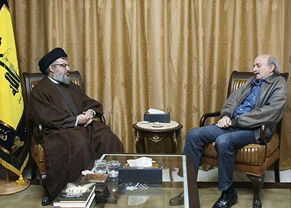 Walid Jumblatt with Hezbollah's Nasrallah (Photo: Reuters)
