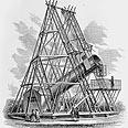 טלסקופ מחזיר האור שבנה ויליאם הרשל, 1.2 מטר קוטרו. 1790 לערך