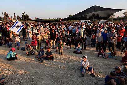 Former Gush Katif residents protest (Photo: Tzafrir Aviyuv)
