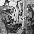 מוכר דגים משתמש בחשבונייה בתחריט מהמאה ה-19