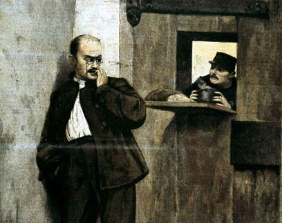 אלפרד שלוש רגליים (דרייפוס) בתאו בכלא  (צילום: jupiter) (צילום: jupiter)