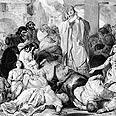 אנשים מתפללים להקלה במגפה ומסביבם גופות,  ליתוגרפיה מאת פ. האוורד.