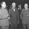 צ'רצ'יל עם סטלין וטרומן בוועידת פוטסדם (1945)