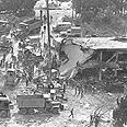 """הריסות מפקדת צה""""ל בצידון שנהרסה בפיצוץ"""