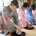 נשים יפניות במקדש מייג'י מקיימות טקס מזיגת תה מסורתי