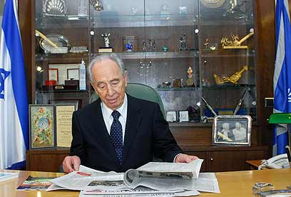 Peres at the president's office (Photo: Avi Ohayon, GPO) (Photo: Avi Ohayon, GPO)