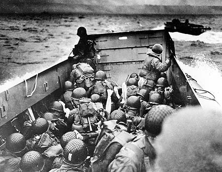 Soldiers on a sea landing craft on their way to Normandy (Photo: AP)