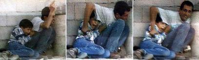 ג'מאל ומוחמד א-דורה בעת התקרית  (צילום: איי אף פי) (צילום: איי אף פי)