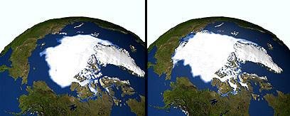 """כדור הארץ ב-1979 וב-2005. הקרחונים נמסים (צילום: נאס""""א) (צילום: נאס"""