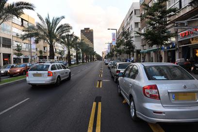 נתיב תחבורה ציבורית - המצלמות יאכפו? (צילום: בן קלמר) (צילום: בן קלמר)