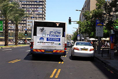 נתיב תחבורה ציבורית בתל אביב. יהיה פעיל בשבת? (צילום: עופר עמרם ) (צילום: עופר עמרם )