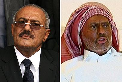 עלי עבדאללה סאלח לפני (משמאל) הפציעה ואחריה (צילום: AFP) (צילום: AFP)