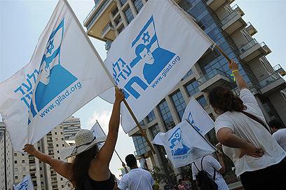 הפגנה לשחרור גלעד שליט מול דירתו של ברק. אוגוסט 2011 (צילום: ירון ברנר) (צילום: ירון ברנר)
