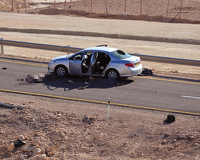 Car attacked by the terrorists who wore IDF uniforms (Photo: Defense Ministry)