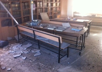 Damage caused to Ashdod yeshiva (Photo: Avi Rokach)