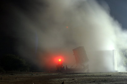 Iron Dome on Friday night (Photo: Avi Rokach)