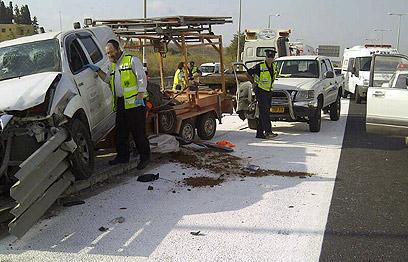 """זירת האירוע על כביש 70 (צילום: באדיבות ארגון זק""""א, איתור חילוץ והצלה) (צילום: באדיבות ארגון זק"""