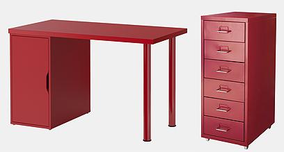 יחידת מגירות ושולחן עשוי מתכת איקאה (צילום: פרדריך יוהנס) (צילום: פרדריך יוהנס)