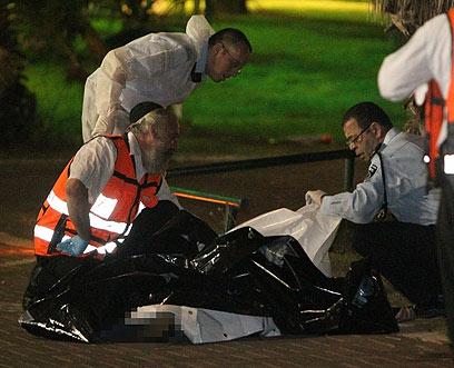 כוחות הצלה בזירת הרצח, הערב (צילום: אלי אלגרט) (צילום: אלי אלגרט)
