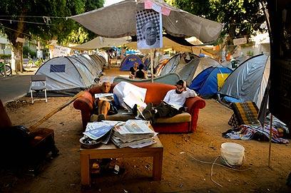 המאהל ברוטשילד. חלק נשאר באוהלים (צילום: ירון ברנר) (צילום: ירון ברנר)