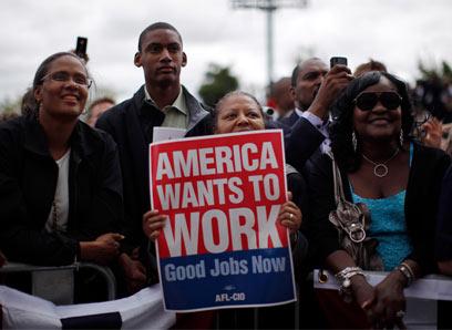 """מובטלים בארה""""ב. שיעור העובדים באוכלוסיה גבוה יותר (צילום: רויטרס) (צילום: רויטרס)"""