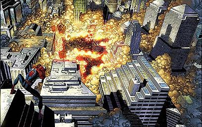 """מתוך """"ספיידרמן"""", העוסק באסון התאומים. כאן כבר אין מי שיציל   (עטיפת הקומיקס) (עטיפת הקומיקס)"""