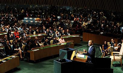 """אובמה נואם הערב בעצרת האו""""ם. נתניהו שבע רצון (צילום: EPA) (צילום: EPA)"""