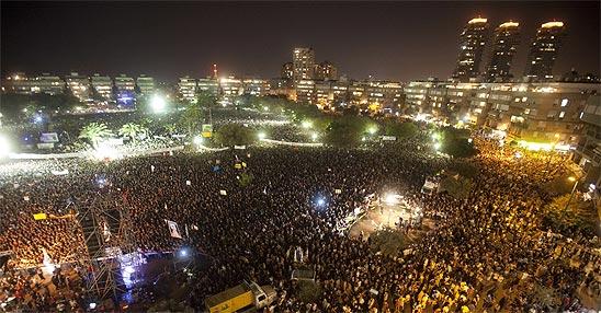 כיכר המדינה בהפגנת ה-400 אלף (צילום: AFP)