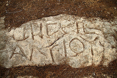 """כתובת """"תחום גזר"""" שנחקקה על סלעים לפני יותר מ-2,000 שנה (צילום: רון פלד)"""