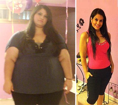 """""""נטו אכילה רגשית"""". אמילי לפני (שמאל) ואחרי הדיאטה (צילום: אמילי זילברמן) (צילום: אמילי זילברמן)"""