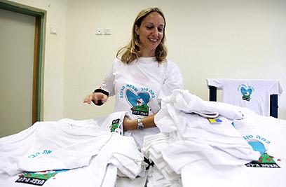Gilad Shalit t shirts (Photo: Avishag Shaar-Yeshuv)
