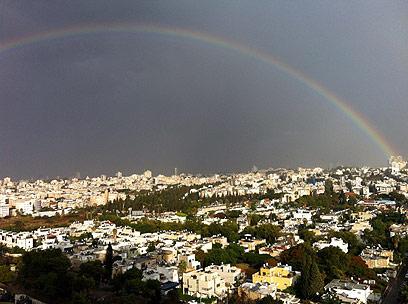 קשת גם מעל שכונת ביצרון בתל-אביב (צילום: הלה עמנואל גור ) (צילום: הלה עמנואל גור )