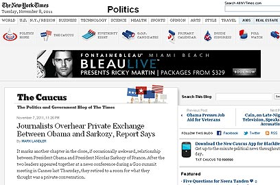 """""""פרק נוסף ביחסים הקרובים בין אובמה לסרקוזי"""". """"ניו יורק טיימס"""" האמריקני ()"""