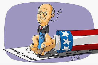 קריקטורה באתר איראני. אמאנו ככלי ציוני ואמריקני ()