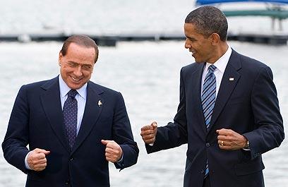 """ברלוסקוני עם נשיא ארה""""ב ברק אובמה בשנת 2010 (צילום: רויטרס) (צילום: רויטרס)"""