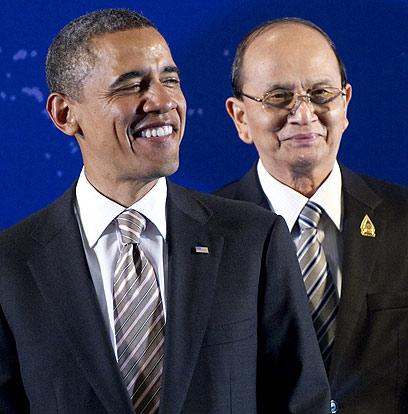 שינויים קוסמטיים בלבד במדינה האסייתית? אובמה ועמיתו ממיאנמר סיין (צילום: AFP) (צילום: AFP)