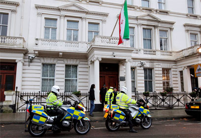 Police outside Iranian embassy in London (Photo: EPA) (Photo: EPA)