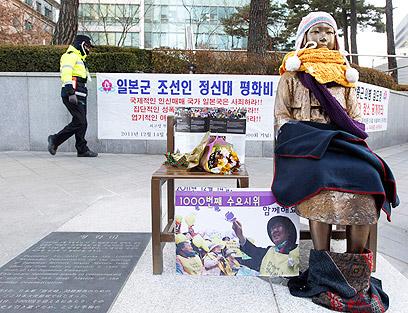 פסל לזכר הקורבנות שהציבו מפגינים מול שגרירות יפן בסיאול (צילום: רויטרס) (צילום: רויטרס)