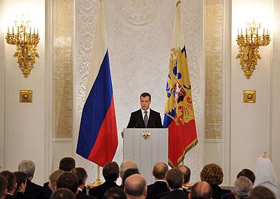 """מדבדב בדומה. נאום """"מצב האומה"""" האחרון כנשיא (צילום: AFP) (צילום: AFP)"""