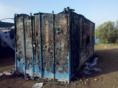 המכולה שנשרפה. טרם נעצרו חשודים (צילום: באדיבות רשות העתיקות) (צילום: באדיבות רשות העתיקות)