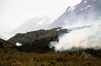 """אזור השריפה בצ'ילה. """"הולכים בסופרים ומקללים"""" (צילום: AFP) (צילום: AFP)"""