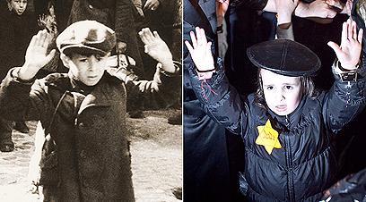 הילד שצולם אמש, בשחזור התמונה המפורסמת מגטו ורשה (צילום: נועם מושקוביץ) (צילום: נועם מושקוביץ, יורגן שטרופ מאי 1943)