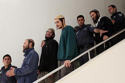 פעילי הימין ששוחררו ממעצר (צילום: גיל יוחנן) (צילום: גיל יוחנן)